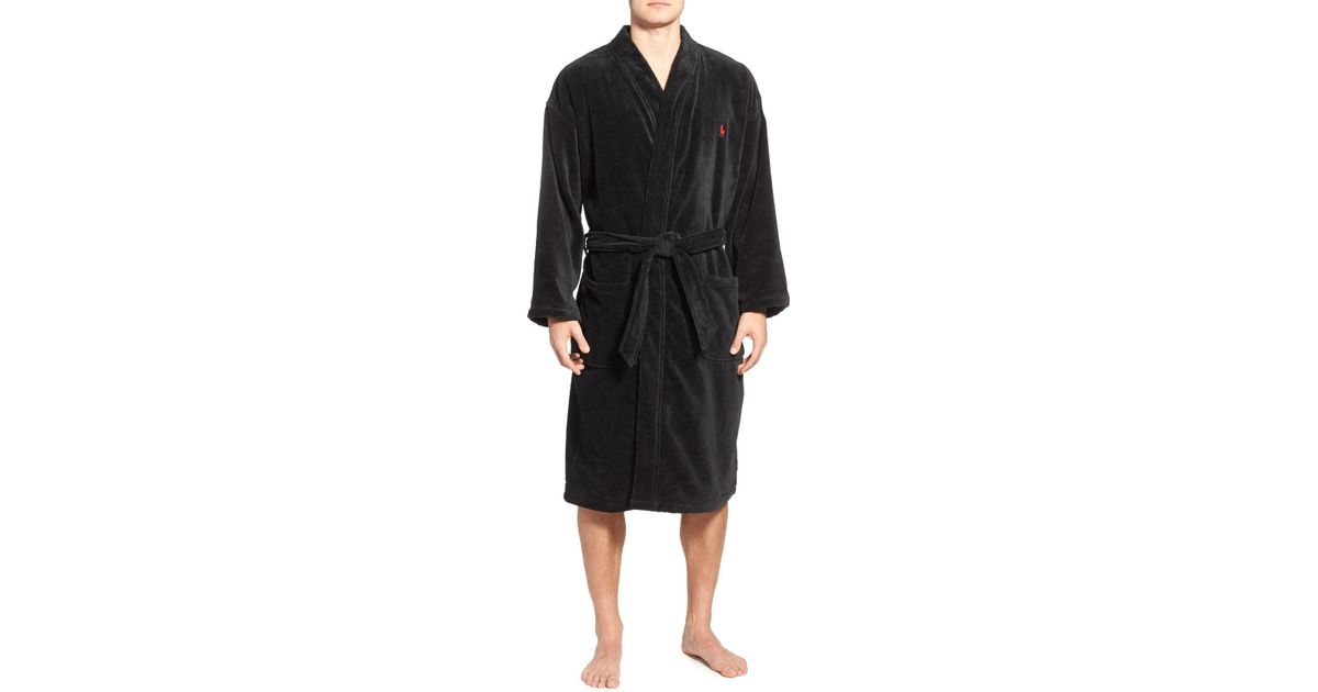 387c1481ba Lyst - Polo Ralph Lauren Cotton Fleece Robe in Black for Men