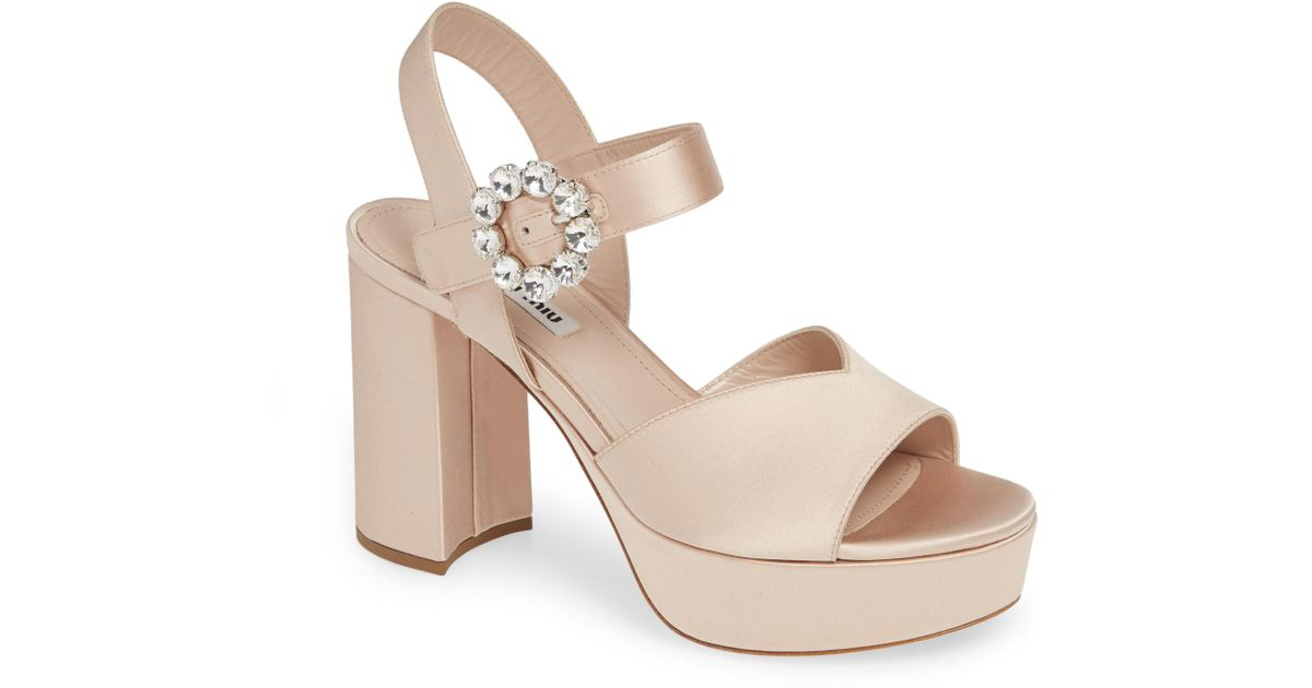 248caf8ff8c Lyst - Miu Miu Jewel Platform Sandal
