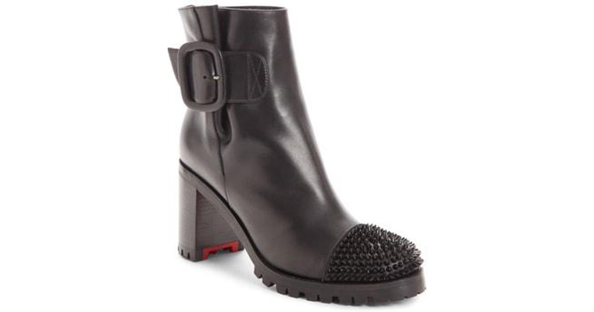18f182b72a28 ... closeout lyst christian louboutin olivia spiked boot in black 49421  d9acc
