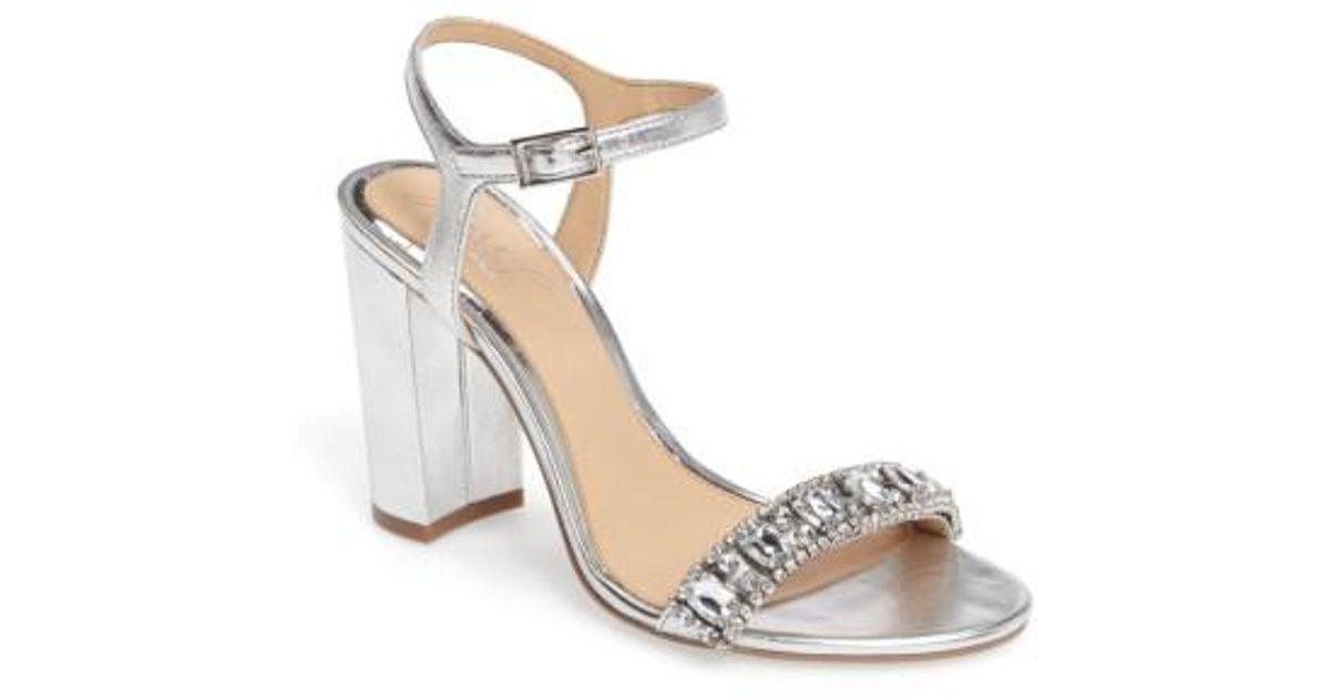 28fc655a09a Lyst - Badgley Mischka Hendricks Embellished Block Heel Sandal in Metallic