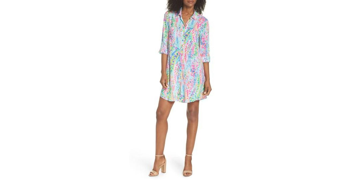 47b6d79d45e24 Lyst - Lilly Pulitzer Lilly Pulitzer Natalie Shirtdress Cover-up in Blue
