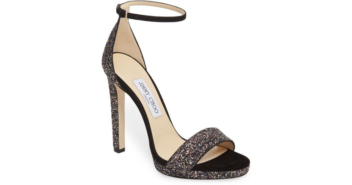 e7500007d7a Lyst - Jimmy Choo Misty Glitter Platform Sandal in Metallic