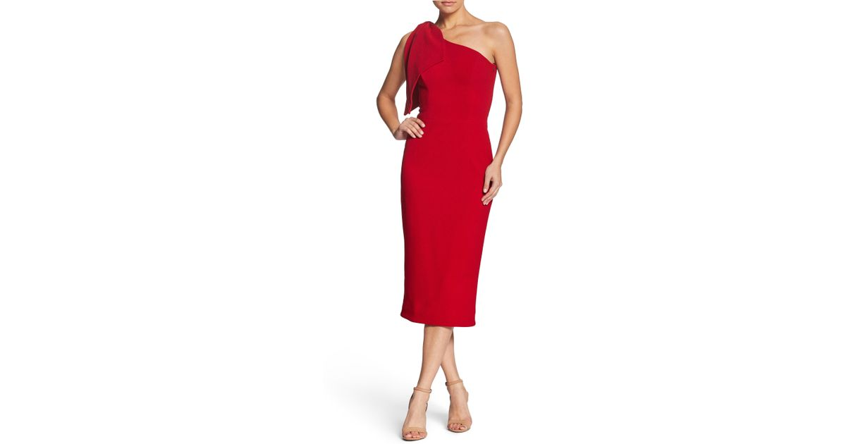 ab33e6433b264b Dress the Population Tiffany One-shoulder Midi Dress in Red - Lyst