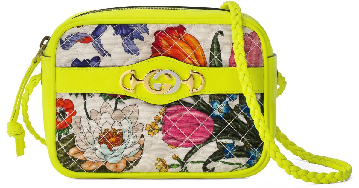 Lyst - Gucci Trapuntata Quilted Floral Shoulder Bag in Yellow 284be220bd6b6