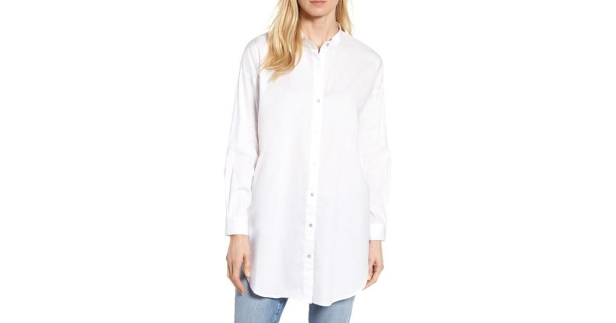 16d467e3f52 Eileen Fisher Stretch Organic Cotton Mandarin Collar Tunic in White - Lyst