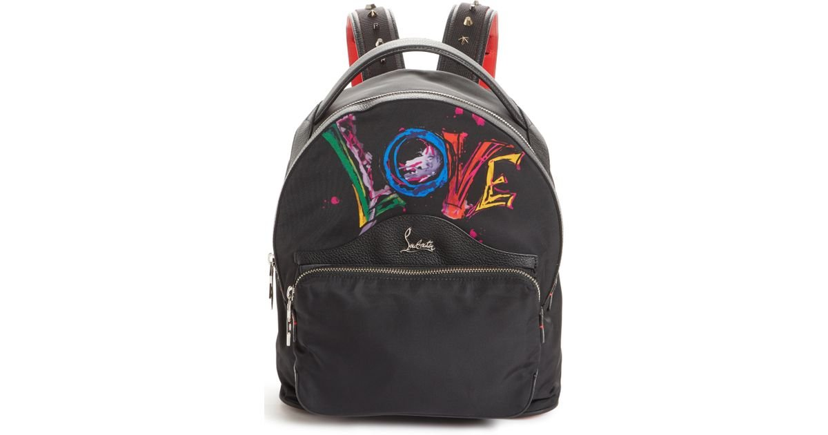 cfc4cc404d Lyst - Christian Louboutin Small Backloubi Love Nylon Backpack in Black