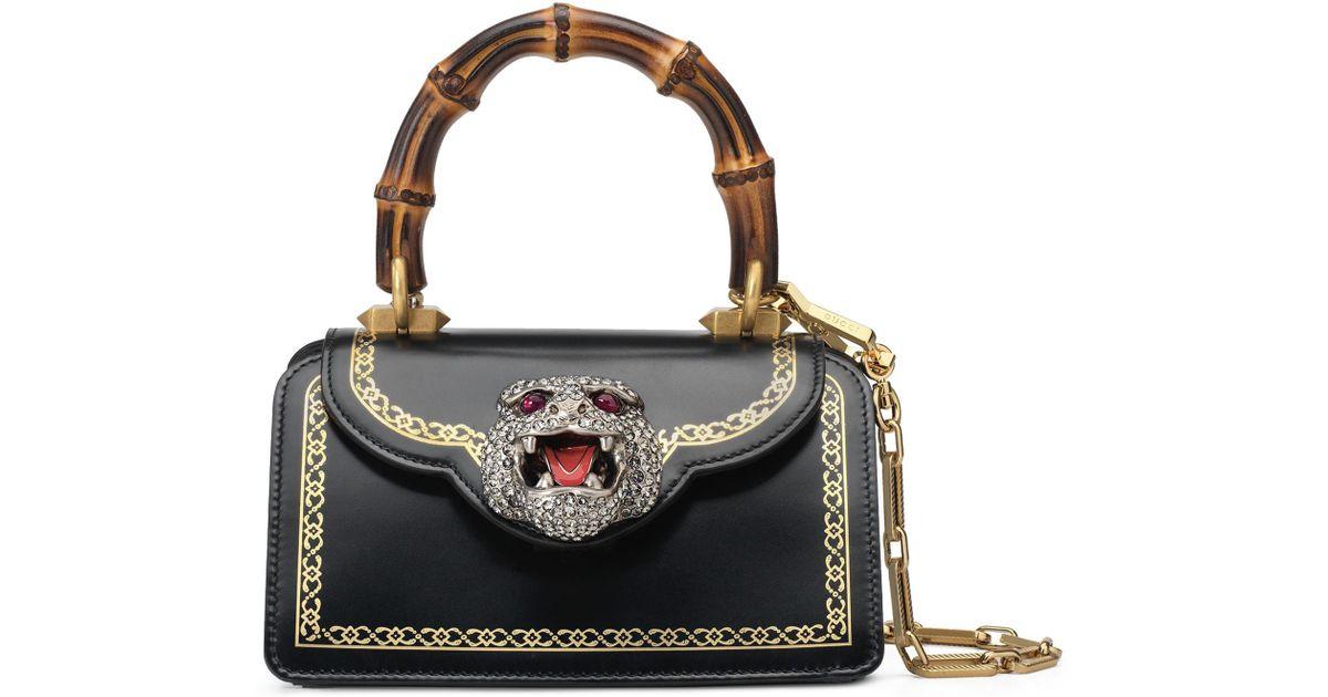 514879f51f7 Lyst - Gucci Mini Thiara Top Handle Leather Satchel in Black