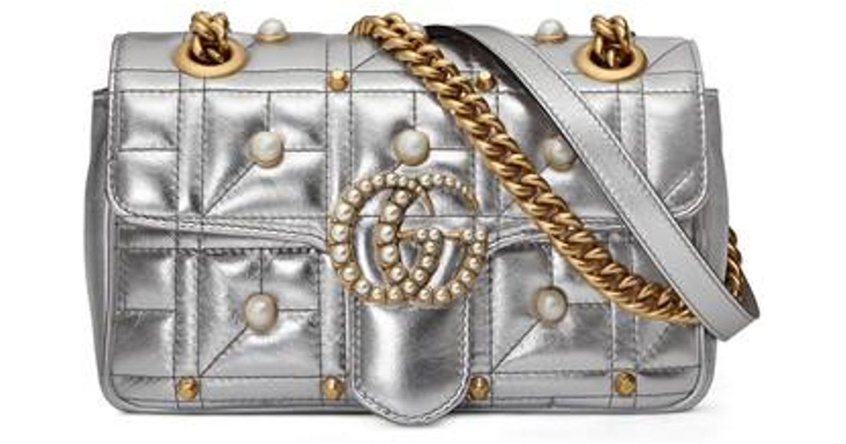 ff5805fde17 Lyst - Gucci Mini Gg Marmont 2.0 Imitation Pearl Logo Matelasse Leather  Shoulder Bag -