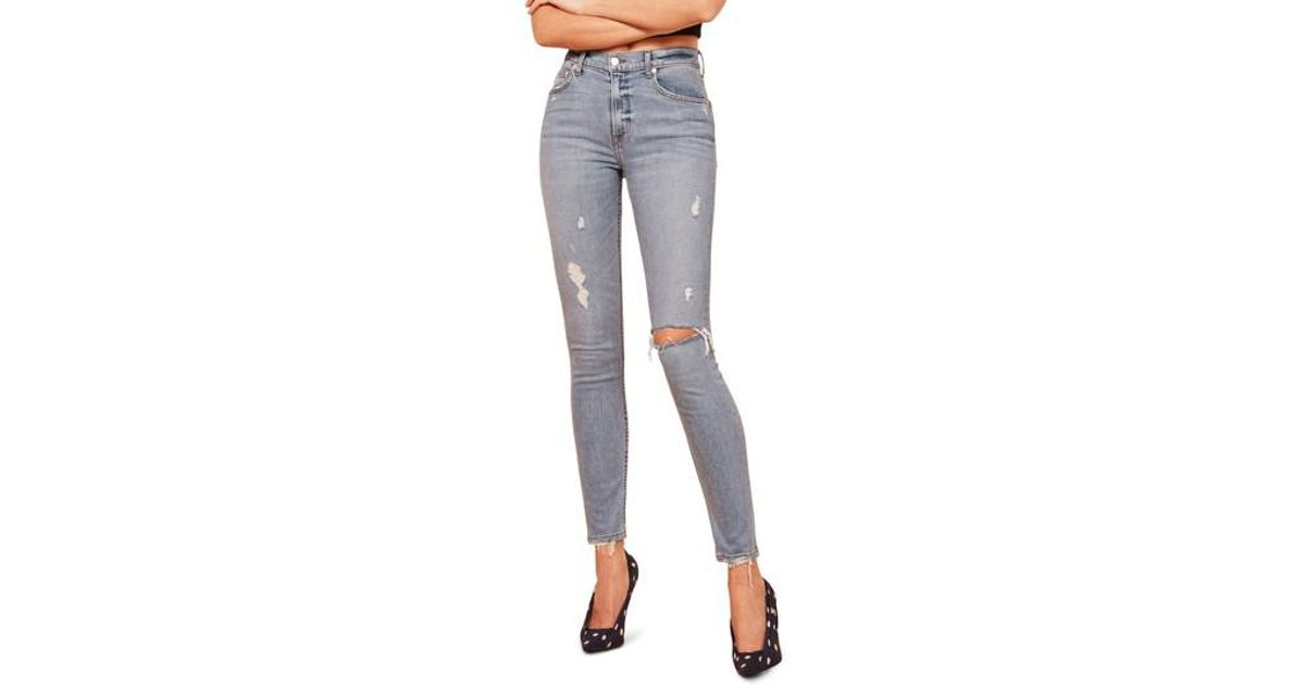 f911631f7586cf Lyst - Reformation High & Skinny Jeans in Gray