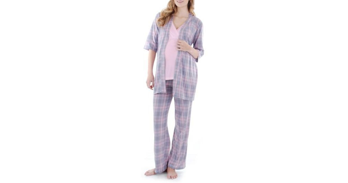 4ce5860c0eed8 Lyst - Everly Grey Susan 5-piece Maternity/nursing Pajama Set in Pink