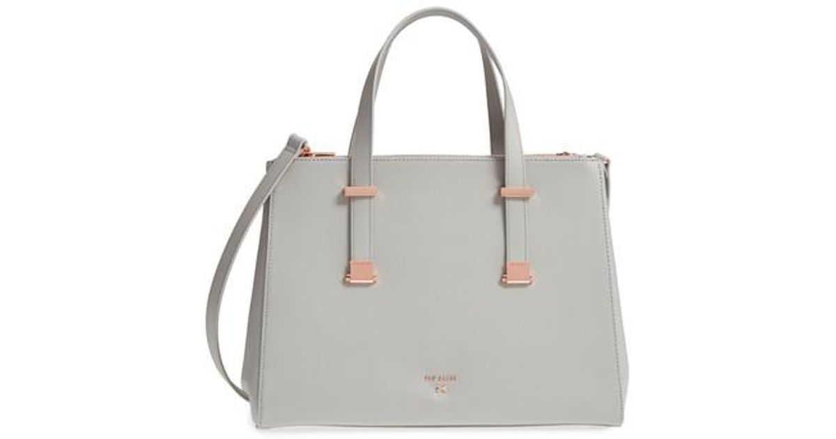 5137555fd4 Ted Baker Aminaa Large Adjustable Handle Leather Shopper in Gray - Lyst