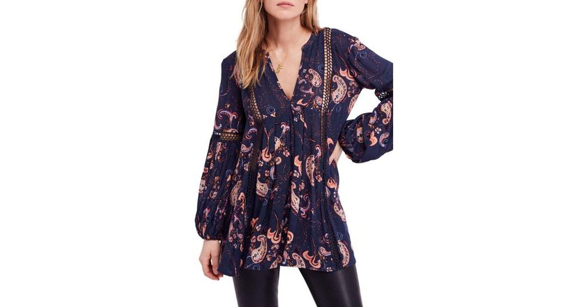 4c9d91c1242 Free People Just The Two Of Us Floral Tunic in Blue - Lyst