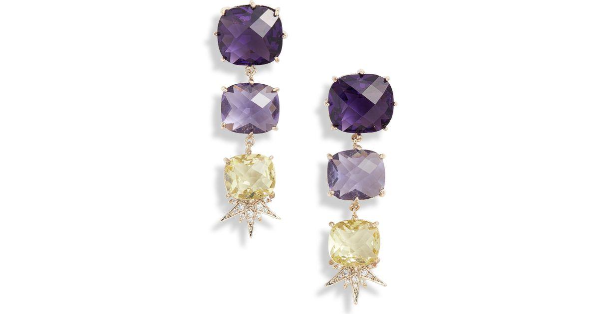 5304e05b42dc Lyst - Jenny Packham Linear Stone Drop Earrings in Metallic