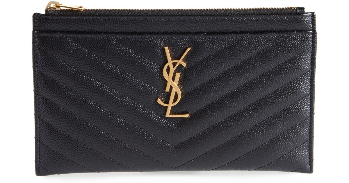 593f92be7f6 Saint Laurent Monogram Leather Bill Pouch in Black - Lyst