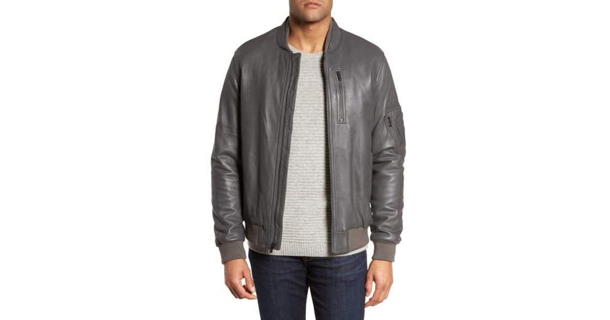 cc8154070 Bugatchi - Gray Leather Bomber Jacket for Men - Lyst