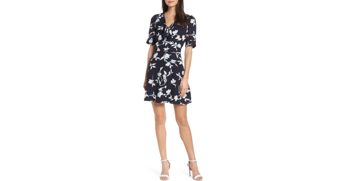 5d45d9a08003 Lyst - Chelsea28 Tie Front Floral Print Fit & Flare Dress in Black