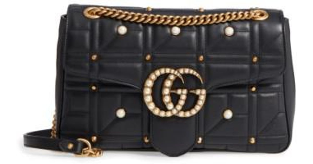 9f012e3ad81 Lyst - Gucci Gg Marmont 2.0 Imitation Pearl Logo Matelasse Leather Shoulder  Bag - None in Black
