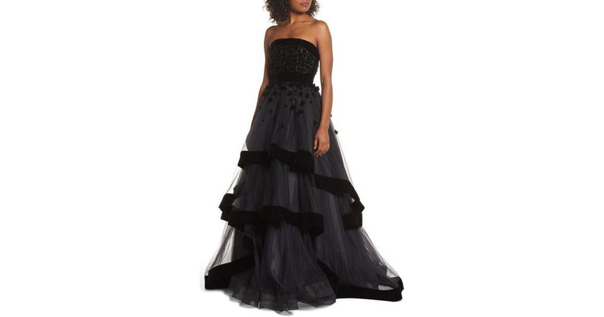 Lyst - Mac Duggal Velvet Trim Strapless Ballgown in Black