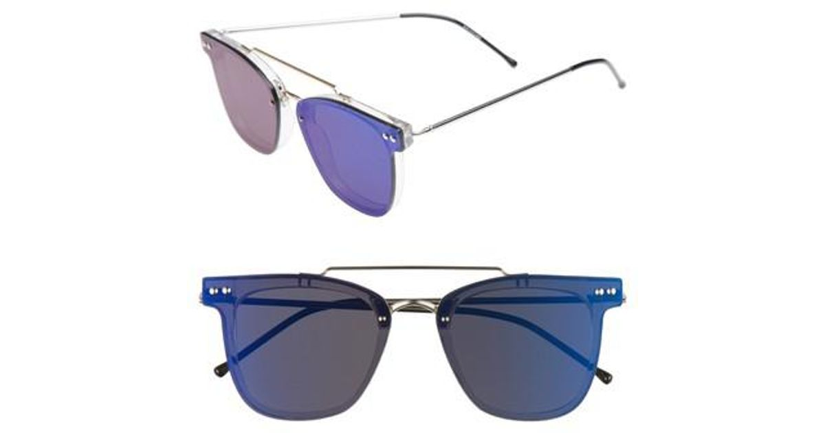8836fd19a7 Lyst - Spitfire Ftl 2 54mm Flat Frame Sunglasses - Clear  Gold  Blue Mirror  in Blue