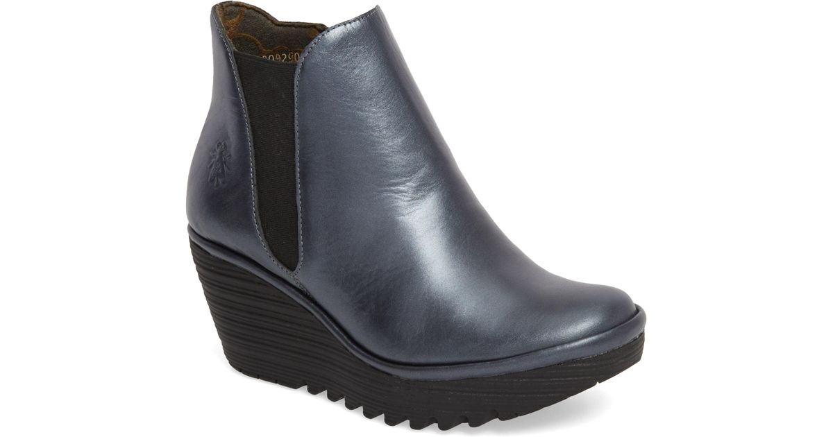 Lyst - Fly London Yozo Wedge Boot in Blue 64a6d5173ac4