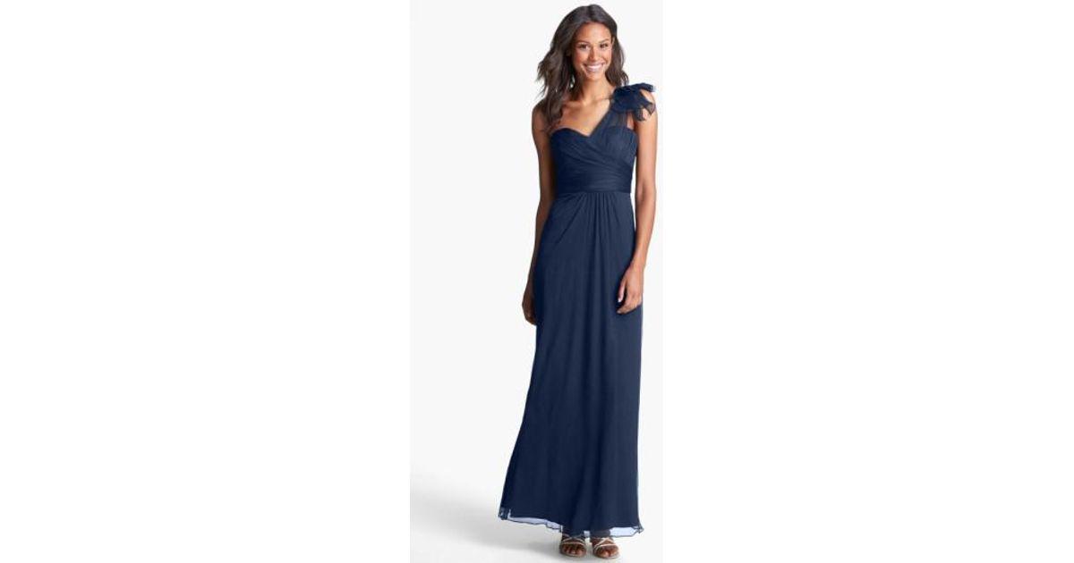 Lyst - Amsale Illusion Shoulder Crinkled Silk Chiffon Dress in Blue