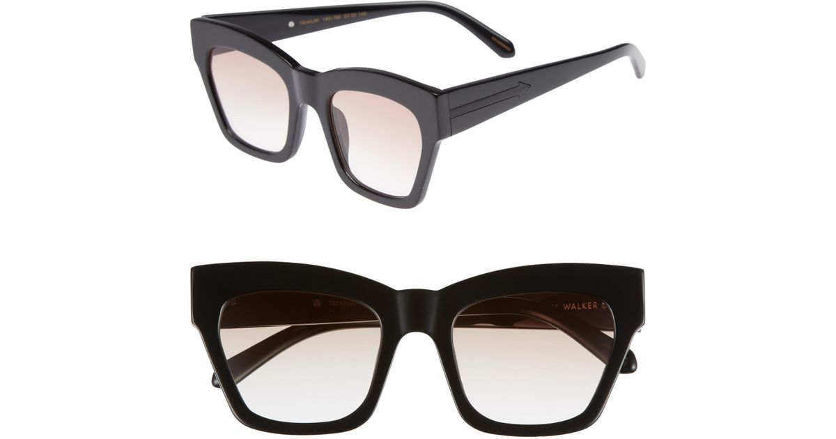 9ceb61ea86 Lyst - Karen Walker Treasure 52mm Cat Eye Sunglasses - Shiny Black  Brown  in Black