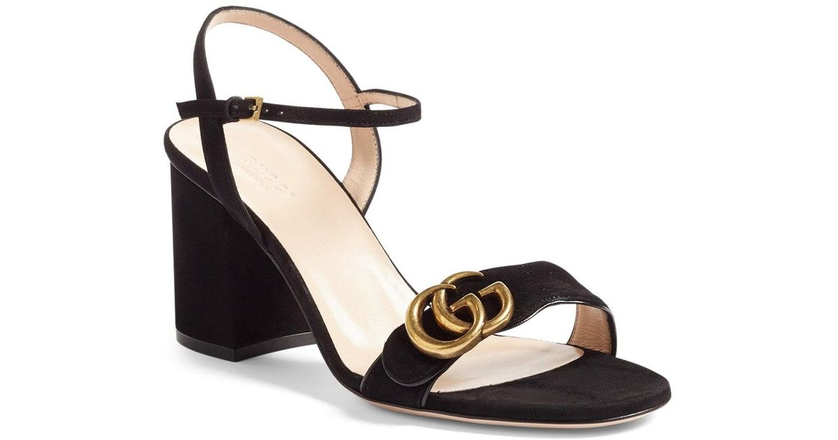 93df6ff52 Gucci Marmont Suede Sandals in Black - Lyst