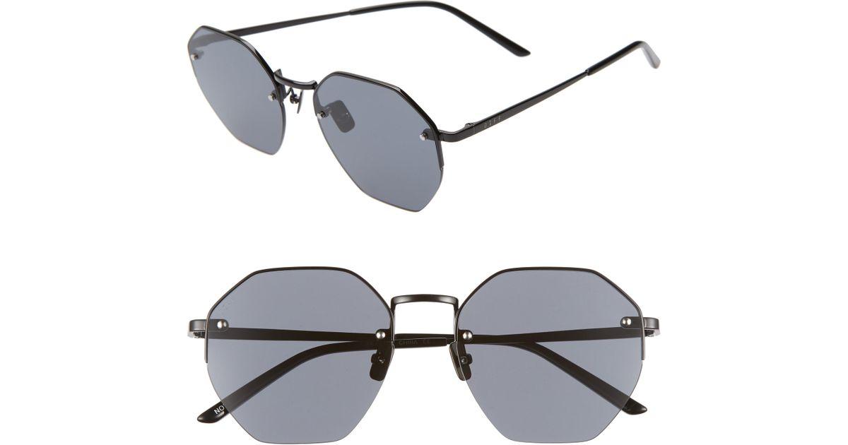 28646c4f2ee1 Lyst - DIFF Nova 50mm Polarized Semi Rimless Geo Sunglasses in Black