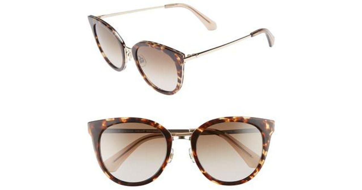 094c3fd59e5 Lyst - Kate Spade Jazzlyn 51mm Cat Eye Sunglasses - Havana  Gold in Metallic