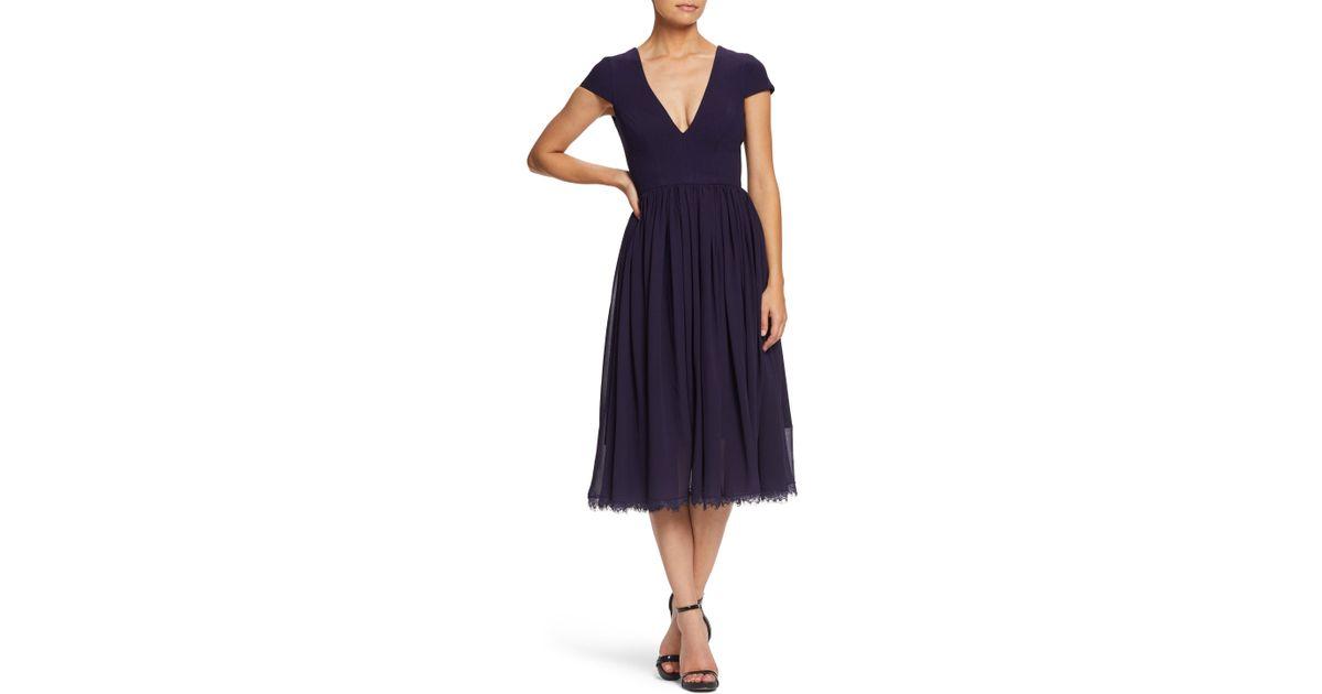 41d219b2e557 Lyst - Dress the Population Corey Chiffon Fit   Flare Dress in Purple
