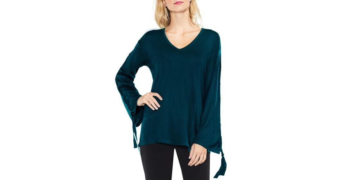 be97a3cf5c8804 Lyst - Vince Camuto Lace-up Bell Sleeve Sweater in Blue