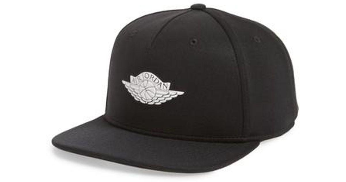 Lyst - Nike Jordan Wings Snapback Baseball Cap in Black for Men 336e0d954dc