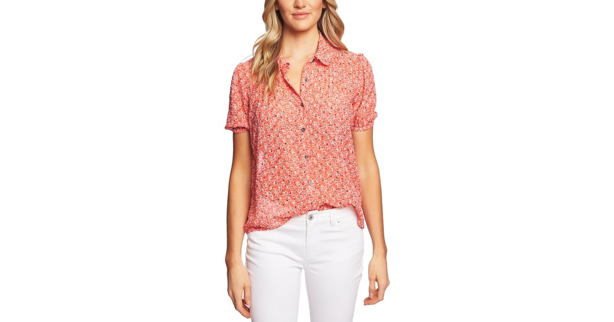 5de3463f152711 Cece Puff Sleeve Peter Pan Collar Floral Print Button Front Blouse in Pink  - Save 41% - Lyst