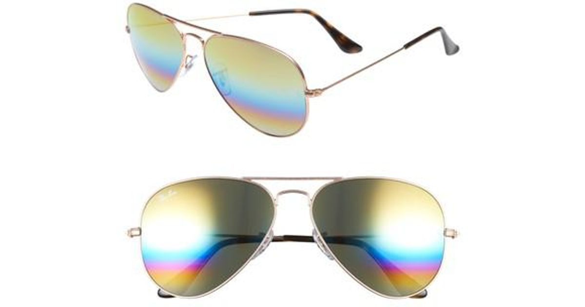 9432b5bcea Lyst - Ray-Ban Standard Icons 58mm Mirrored Rainbow Aviator Sunglasses in  Blue