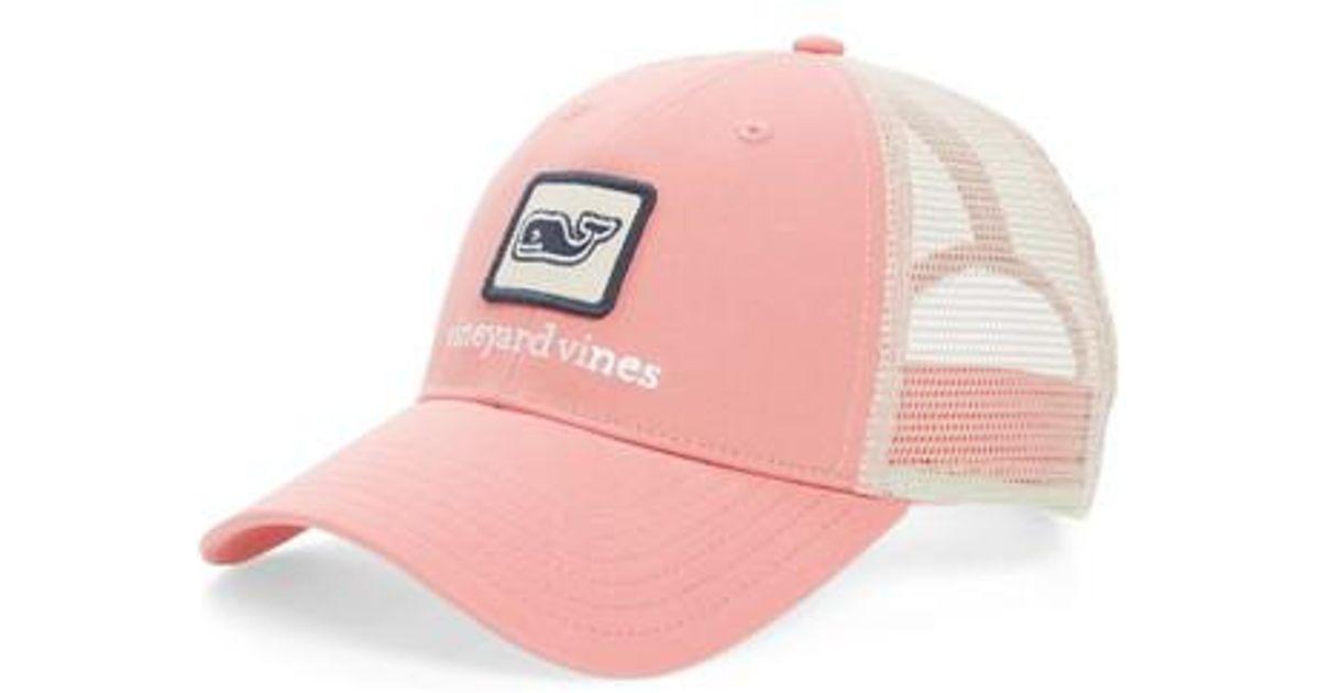 af78eeb2052 Lyst - Vineyard Vines Whale Patch Trucker Hat in Pink