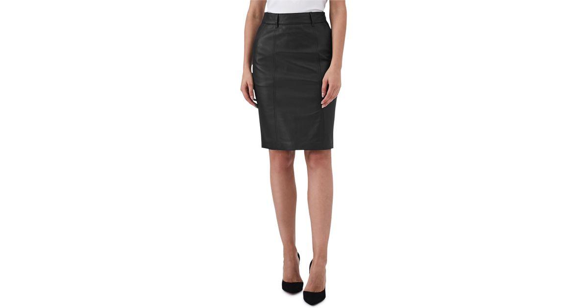 ccd28066944d56 Lyst - Reiss Kara Leather Pencil Skirt in Black