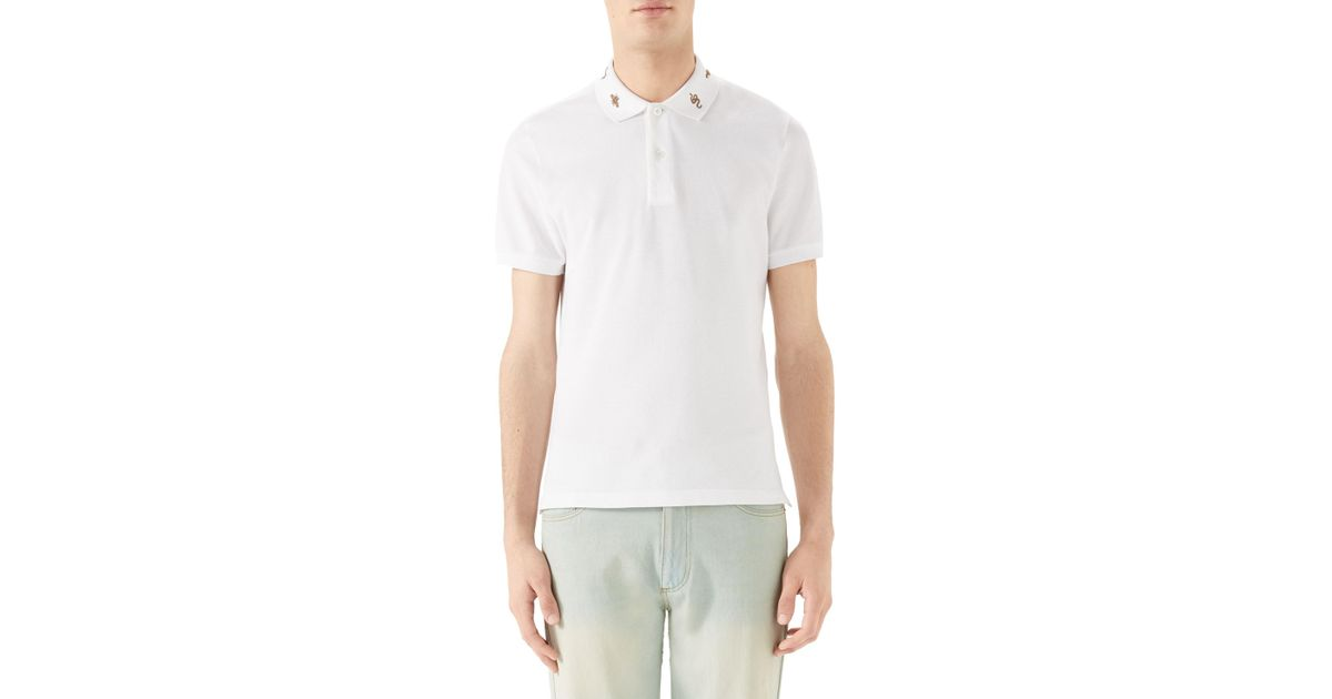 5afe643b7c6 Lyst - Gucci Gold Embroidered Piqué Polo in White for Men