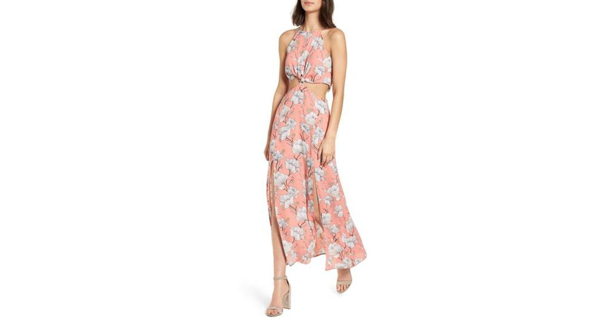 54323a5ad69 Lyst - Nordstrom Floral Cutout Maxi Dress in Pink