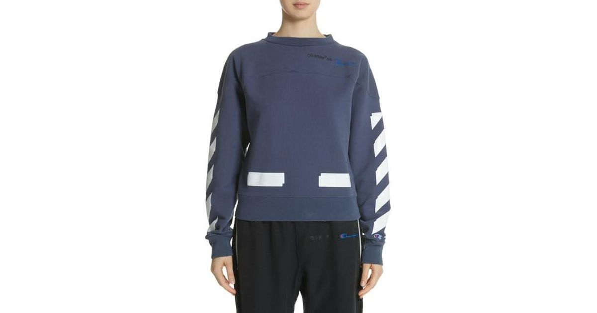 ac9f66325547 Lyst - Off-White c o Virgil Abloh X Champion Crewneck Sweatshirt in Blue