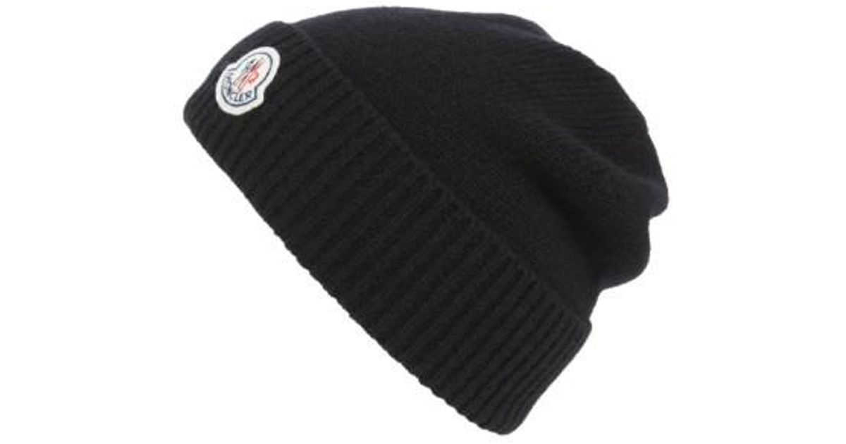 9d9f875dcfa Lyst - Moncler Berretto Wool Beanie in Black for Men