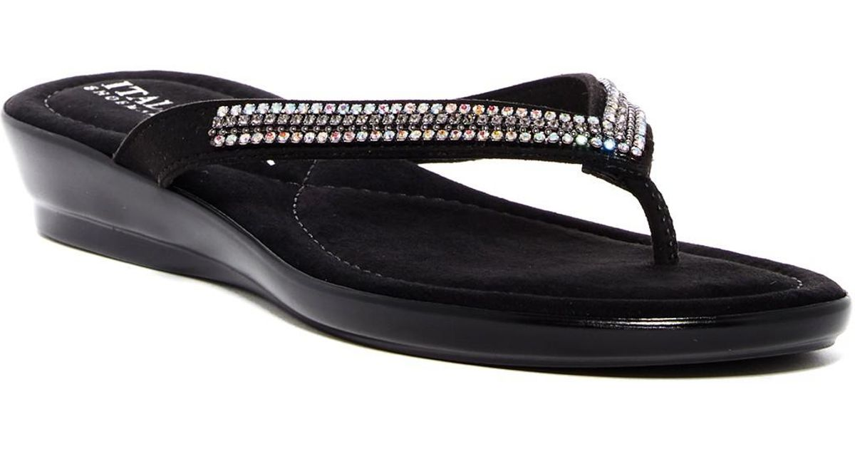 73a429dbd6a Italian Shoemakers Crystal Embellished Low Wedge Sandal in Black - Lyst