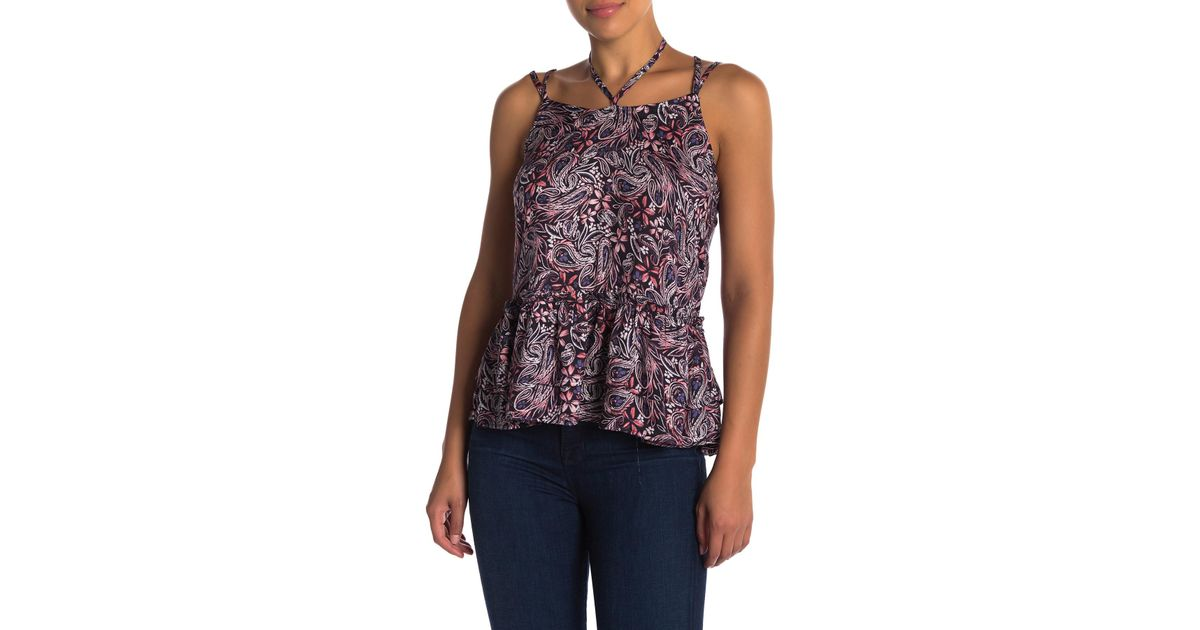 b8991c39dfc6b Lyst - William Rast Thea Strappy Floral Top