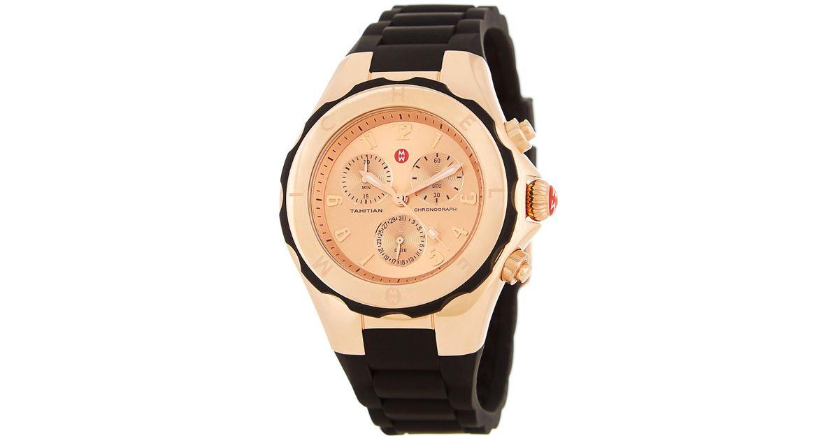 557035cb1 Michele Women's Tahitian Jelly Bean Silicone Strap Watch, 40mm in Metallic  - Lyst