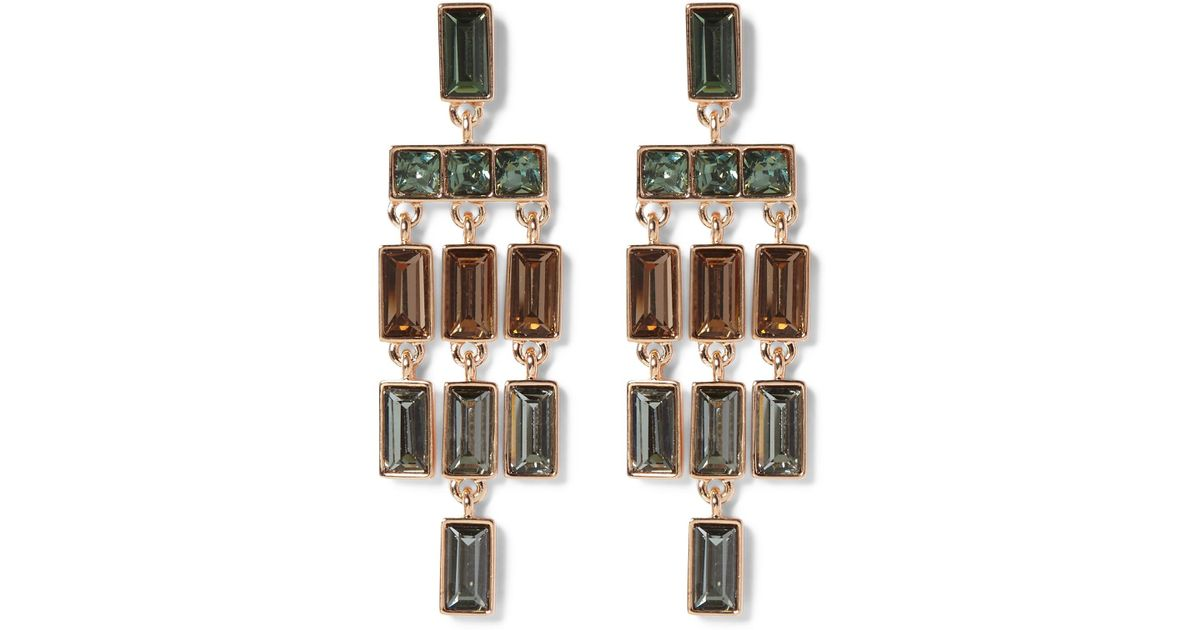 Lyst vince camuto faceted crystal statement chandelier earrings in lyst vince camuto faceted crystal statement chandelier earrings in metallic aloadofball Choice Image