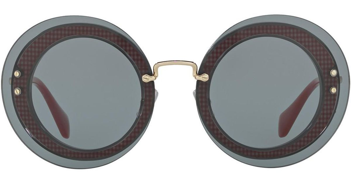 aec64b9450 Lyst - Miu Miu Reveal 64mm Round Sunglasses in Gray