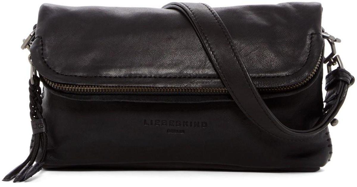 Lyst - Liebeskind Berlin Foldover Zip Leather Crossbody Bag in Black
