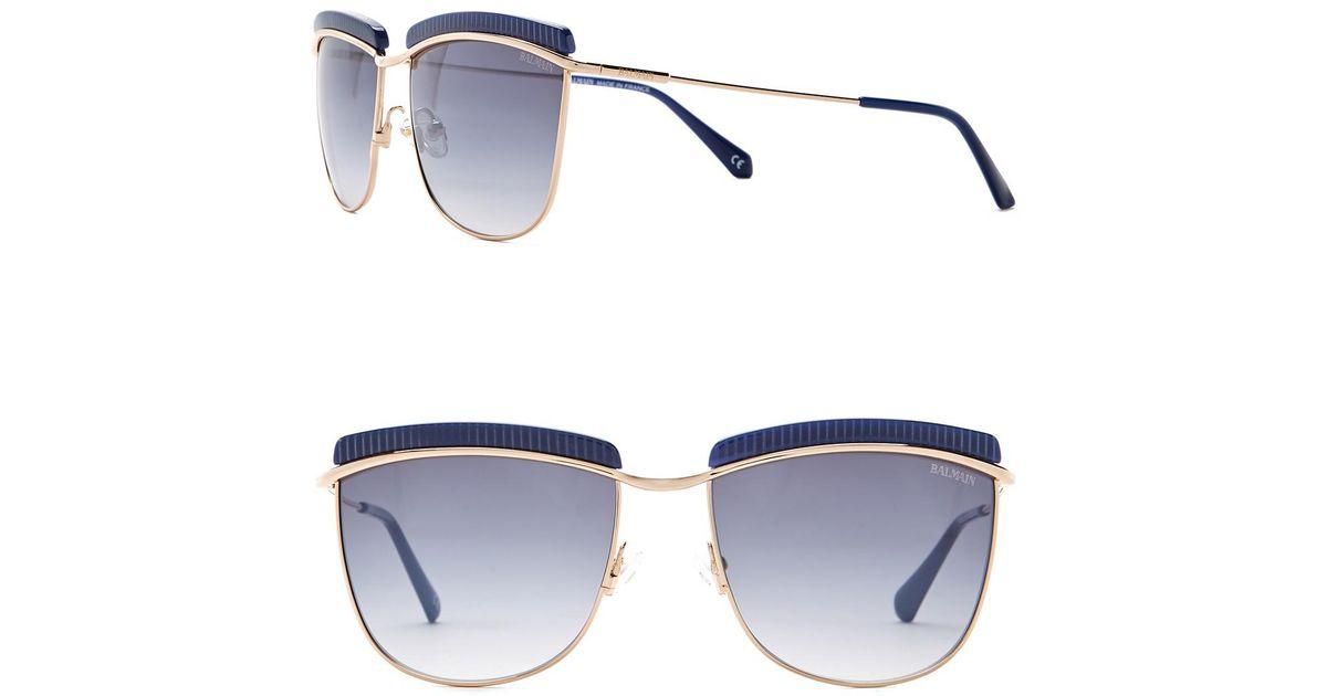 d3fc279e74 Lyst - Balmain Clubmaster 56mm Metal Frame Sunglasses in Blue