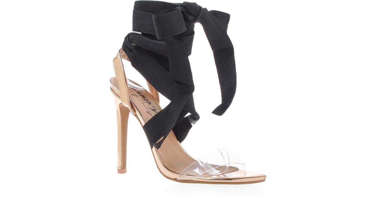 a7d214fecf40 Lyst - Privileged Julia Clear Lace-up Sandal in Black