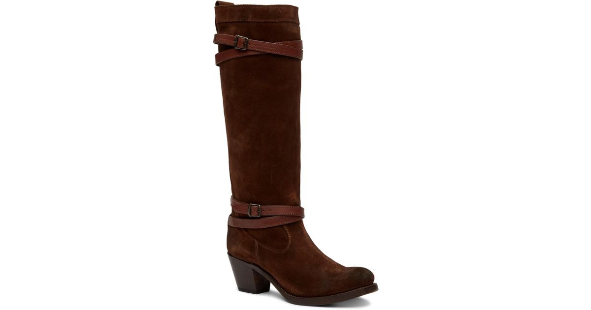 a424a89cbcb Lyst - Frye Jane Strappy Tall Boot in Brown