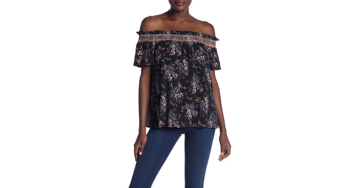 2b07899751f85 Lyst - Cece By Cynthia Steffe Floral Off-the-shoulder Short Sleeve Tee in  Black